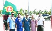 Seen here in a Samoa News file photo taken Manu'a Cession Day in 2015 are, Governor Lolo Matalasi Moliga accompanied by First Lady, Cynthia Malala Moliga, Polynesian Airlines CEO, Seiuli Alvin Tuala, Manu'a Senator Nuanuaolefeagaiga Saoluaga Nua and Deputy Secretary of Samoan Affairs, Tuiagamoa Tavai. [photo: JL]