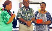 Dr. Ruth Matagi-Tofiga (far left), Faumuina John Faumuina (middle) ,Dialysis nursing director Olita Tafiti