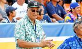 Mufi Hannemann applauds the action at Aloha Stadium