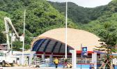 The refurbished Fagatogo Pavilion with the new flag poles in front.