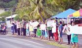 Demonstrators protesting use of land