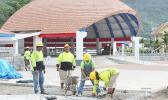Crew members of Pentagon Construction seen last Saturday morning working on the front section of the Fagatogo Pavilion, which is set to be dedicated on Aug. 30th during the annual Workforce Day, sponsored by the local government.  The project comprises the renovation and extension of the Fagatogo Pavilion