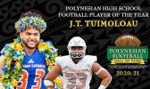 J.T. Tuimoloau has been selected as the 2020-21 Polynesian High School Football Player of the Year.