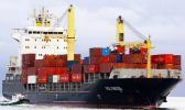 A Polynesian container ship at sea