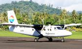 A Polynesian Airlines Twin Otter aircraft at Fagali'i Airport in Upolu, Samoa.