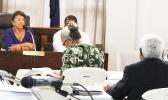 Port Administration director Taimalelagi Dr. Claire Poumele (left) at Wednesday's budget hearing