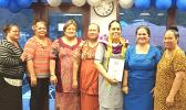 """Manulele Tausala Elementary School principal, Martha Sagapolutele (third from right) with her award Certificate, after being named the """"Principal of the Year"""" - school year 2017-2018."""