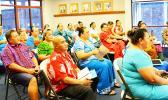 Public school principals on Tutuila during a Monday meeting with newly confirmed Education director Dr. Ruth Matagi-Tofiga.  [photo: ASDOE]