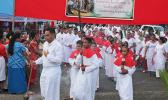 The start of the procession of worshiper from the Holy Family Parish in Fatuoaiga
