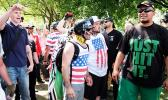 "Proud Boys during one of their rallies in Portland Oregon.  Tusitala ""Tiny"" Toese is pictured right"