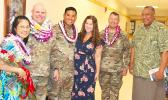 [l-r] Wendy and her husband, Lt. Col. Clinton Seybold; Lt. Col. Alejandro L. Buniag Jr., and his wife, Amanda; Col. Travis C. Delk, Commander of the US Army Reserve Theater Support Group-Pacific; and Lt. Gov. Lemanu Palepoi Sialega Mauga