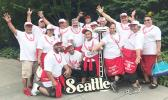 Some members of Faga'itua High School Class of 1988 pose for a photo at the Seattle reunion