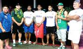 Talavalu players, with head coach Tommy Elisara (far right) and team manager Annie Coffin (far left).