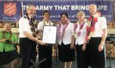 Samoa's prime minister, Tuila'epa Sa'ilele Malielegaoi welcomes Salvation Army delegation