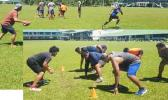 Samoa Gridiron players during a practice session