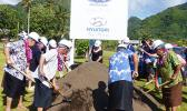 Gov. Lolo Matalasi Moliga and others breaking ground for new business building for  G.H.C Reid & Company