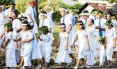 Children parading to White Sunday celebration in Samoa