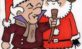 Santa Claus and Mr.Magoo aka E.Scrooge [Fred Hembeck Color Sketch from Pinterest]
