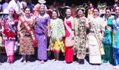 Outgoing Miss Samoa Papalii Alexandra Iakopo (middle) flanked by the nine contestants