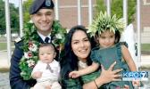 Captain Jordan Scanlan with his wife Niva and their children