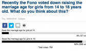 samoanews.com poll on the marriage age proposal that did not pass earlier this year.