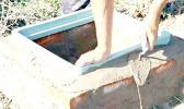 A backyard septic tank