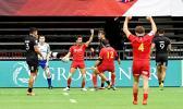 Spain's Pol Pla celebrates his try