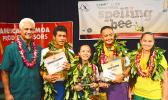 McDonald's American Samoa vice president of Marketing and Public Relations, Larry Sanitoa (far left), pictured with students who took first, second and third place —there were two who placed third — following yesterday's Samoa News 2017 Territorial Spelling Bee competition at the KVZK-TV studio. [photo: AF]