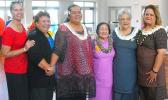 ASCC Samoan Studies Institute Director Okenaisa Fauolo-Manila (third left) receives congratulations from ASCC president Dr. Rosevonne Pato, First Lady Cynthia Malala Moliga, and other dignitaries