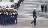 The ceremonial marchers of Alpha Company who were part of the presidential escort with our local Stein Mcentire, front row 3rd from the right, during the Inauguration Day this past weekend. The president, vice-president and their spouses are seen reviewing the presidential escort as they pass.  [Courtesy photo]