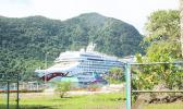Norwegian Jewel entering the fuel dock at the Port of Pago Pago