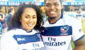 Joseph Taufete'e of Nu'uuli and his lovely wife Noeleen Bette Meni-Taufete'e who he wanted to impress by playing rugby, not knowing it would make his sporting dream a career come true.  [Courtesy photo]