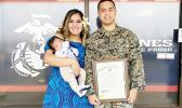 SSGT Taumotoi is pictured here with his wife Ejay Schuster, and son, Giannis Benjamin Taumotoi