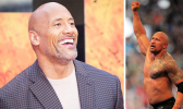"""Dwayne """"The Rock"""" Johnson smiling with inset of his sholder tattoo"""