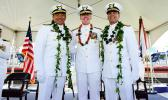 Capt. Arex Avanni (left),Capt. Michael Long (right),Rear Adm. Kevin Lunday (center)