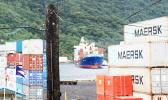 The cargo vessel Fesco Askold slowly pulling into Port of Pago Pago