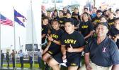 Flag raising and JROTC recruits