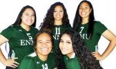 "[l-r back row]: #5 Rae Sapiga (setter, 5'7""); #11 Sarah Tuioti-Mariner (outside/opposite side hitter, 5'10""); and #7 Adriana Puni (outside/opposite side hitter, 5'9"") [l-r front] #19 Fofoga Luamanuvae (outside hitter, 5'8""); and #3 Qitana Sapiga (setter, 5'5"")"