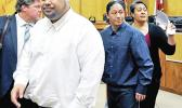 Wesley Samoa, left, Lama Lauvao and Natisha Tautalatasi leaving the courtroom