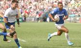 At the HSBC World Rugby Sevens Series XVIII in Hong Kong on April 8, 2017 Samoa's Alamanda Motuga outruns South Korea's defense in pool play.  Samoa beat South Korea 22-12 to finish third in Pool D.   Samoa will play Scotland in the Bowl quarter final.  South Korea will go against Russia.