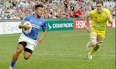 Samoa Toloa scoring under the posts for Samoa's first try in Hong Kong as Samoa lost to Australia 22-19 in the pool play opener on Friday, April 7th at the 2017 Cathay Pacific/HSBC Hong Kong Sevens.