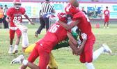 Two Faga'itua Viking defenders break up a pass
