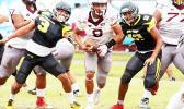 Francisco Mauigoa looking to take this one to the end zone