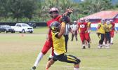 PJ Tufugafale securing a catch against Faga'itua's Tevita Tevita